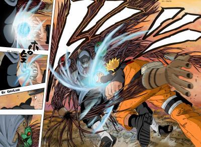 Naruto vs. Kakuzu a rasen shuriken vs. 4 srdca