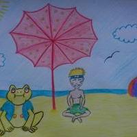 Gamatatsu a Naruto na pláži
